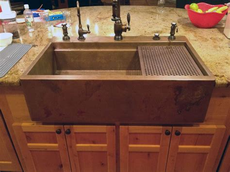 copper top mount drop in farmhouse sink by rachiele