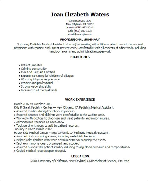 sample resumes for medical assistants 16 free medical assistant