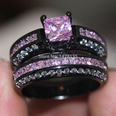 aliexpress rings new jewelry engagement 10kt black gold filled pink gem 5a