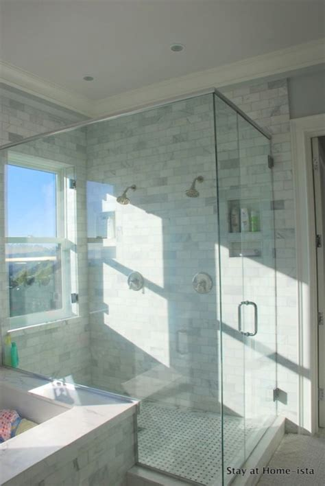 Master Bath Tub by Shower Window Transitional Bathroom Stay At Homeista