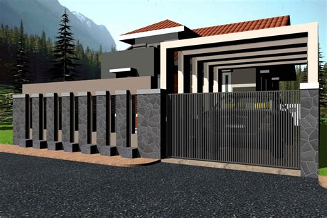 modern wall fence design pin 70 front on
