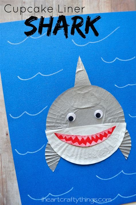 shark crafts for i crafty things cupcake liner shark craft