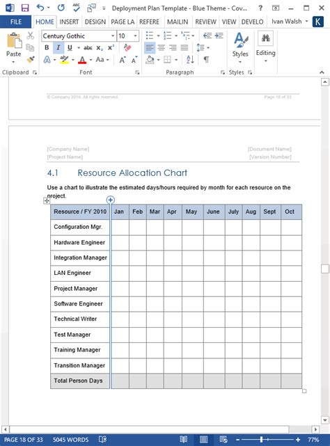 deployment plan template download 28 page ms word sle