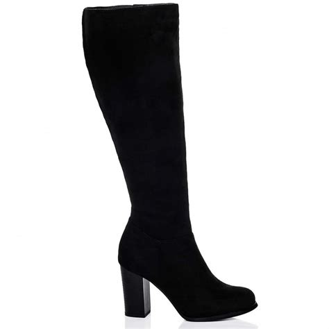 wide calf thigh high heel boots drey black wide calf boots from spylovebuy