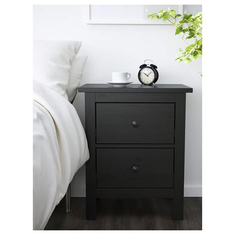 hemnes chest of 2 drawers black brown 54x66 cm
