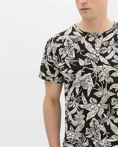 Preloved Zara Tshirt zara flower print tshirt in black for lyst