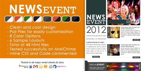 news event newsletter html and psd files by chragency
