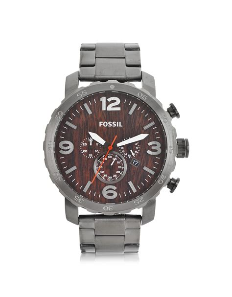 Fossil Nate Black Grey fossil nate smoke stainless steel chronograph in