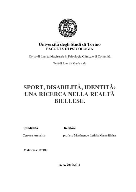 Università degli Studi di Torino FACOLTÀ DI PSICOLOGIA