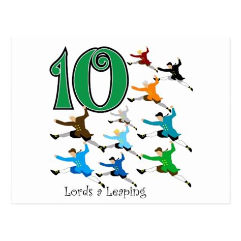 10 lords a leaping romantic gift 10 leaping postcard zazzle