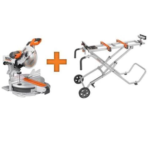 ridgid 12 in sliding compound miter saw with free mobile