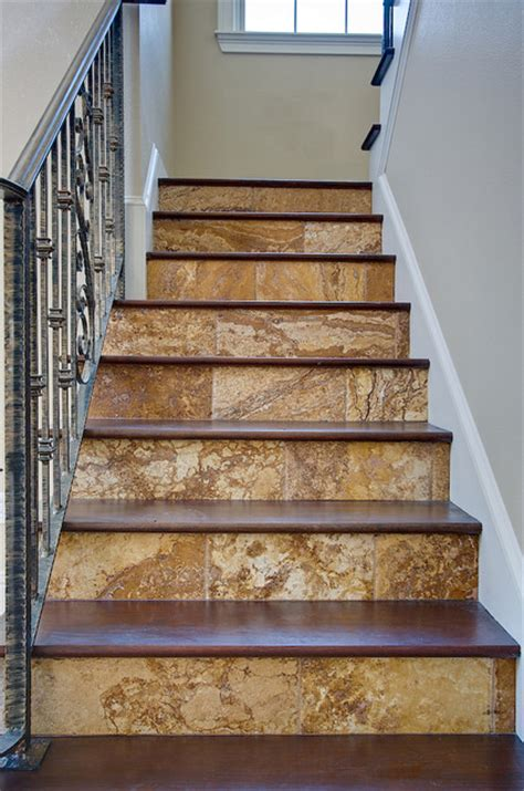 Gold Travertine Tiles Traditional Staircase Ta Tiles For Staircase