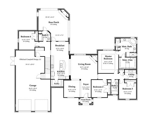 House Plan 2897 Square Footage 4 Bedrooms French Country House Plans French Country