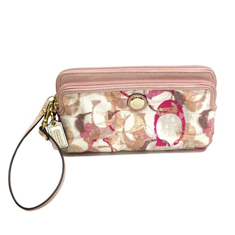 Coach Pop Stamped Double Zip Wallet/ Wristlet Pink #49200   Coach 49200