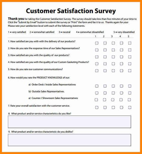 Customer Service Survey Templates 6 customer satisfaction survey template excel mail clerked