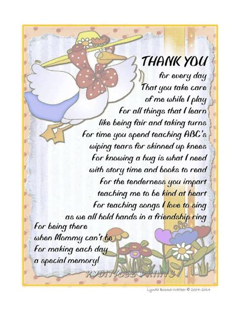 appreciation letter to daycare provider wall child s thank you poem gift to their daycare