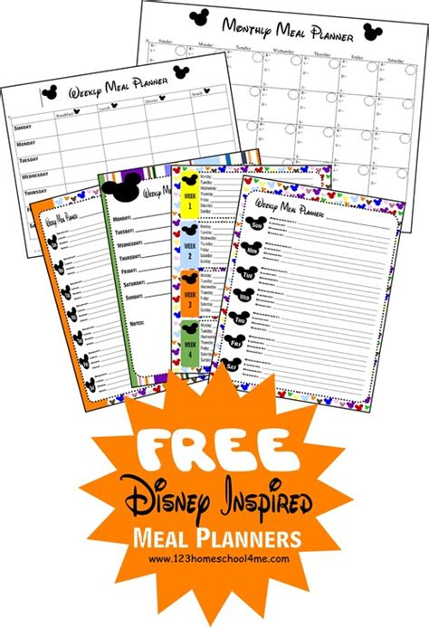 printable disney day planner free printable disney meal planners keep moving forward