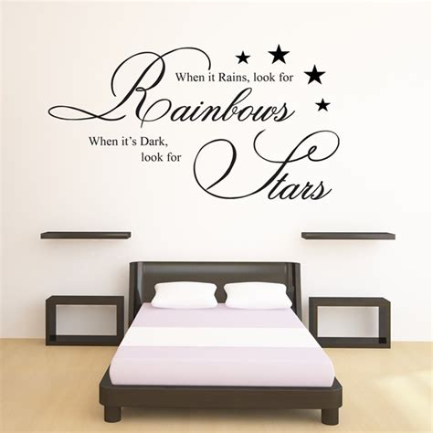 wall decal quotes for bedroom when it rains look for rainbows wall art quote sticker