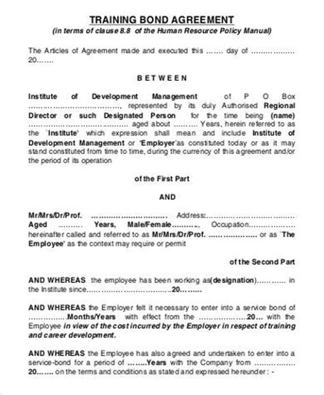 Bond Agreement Letter Format Employment Agreement Sle