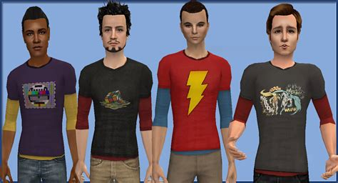 Sims 4 Cc Male Geek Shirts | mod the sims sheldon shirts 17 shirts for your geeky guys