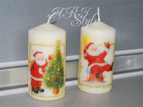 Decoupage Candles - ari style handmade set of 2 decoupage candles