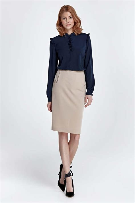 beige classic pencil midi skirt