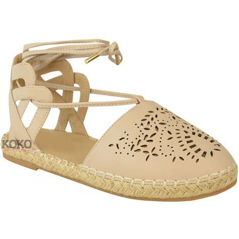 espadrilles shoes womens flat lace up cut out espadrilles sandals