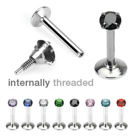 316l surgical steel internally threaded labret with prong