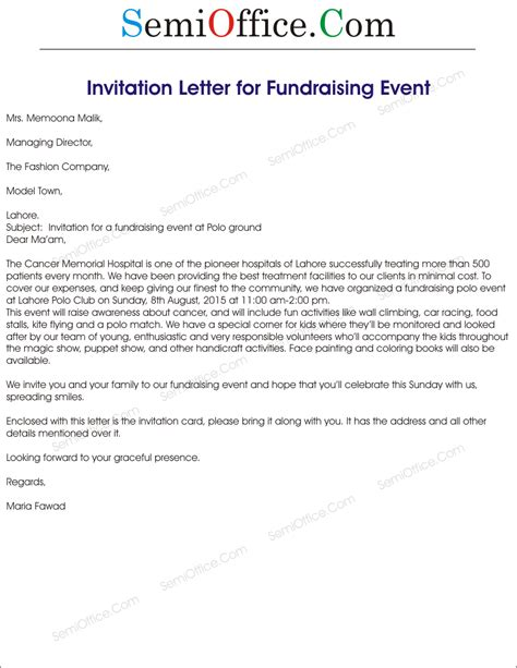 formal letter charity event invitation letter for fundraising event images