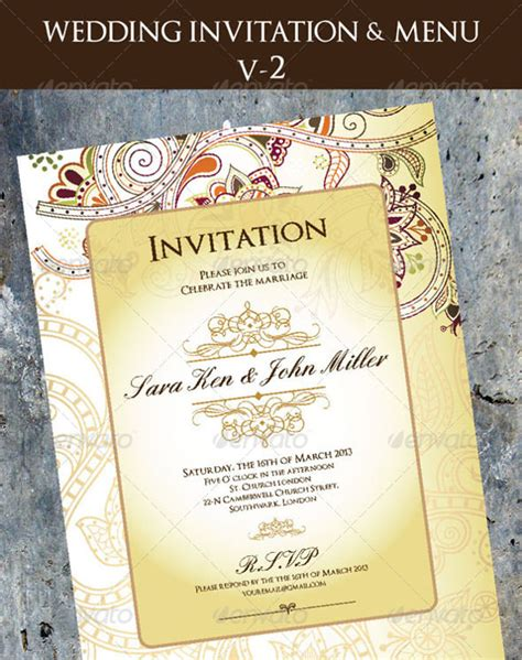 menu invitation template 36 wedding menu templates free sle exle format
