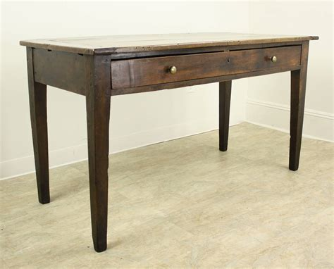 long desk table antique oak writing table or desk with one long drawer at