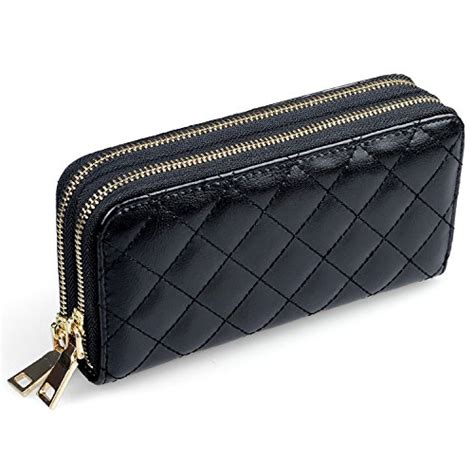 womens leather wallet clutch quilted large handbag organizer wristlet card holder dual