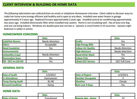 software audit template energy audit software home energy auditors