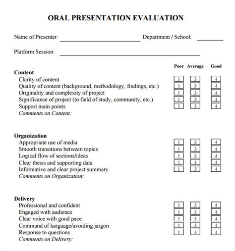 presenter evaluation form template 7 sle presentation evaluations pdf sle templates