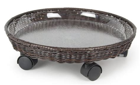 Planter Saucer Caddy by Plastec Cd418bn All Weather Wicker Caddy Plant Saucer 18