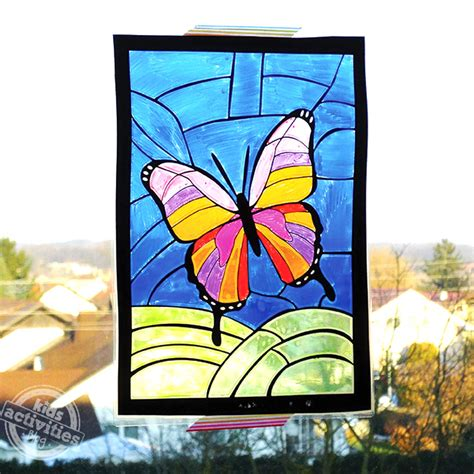 stained glass craft for stained glass butterfly