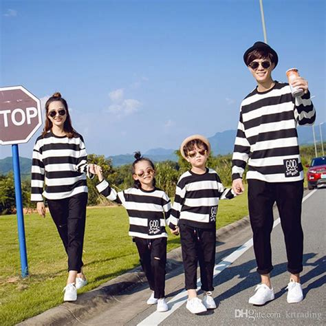 family matching look striped t shirt sleeve pullover