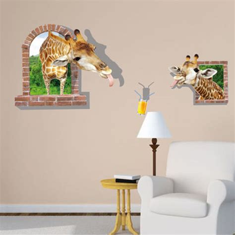 3d giraffe wall sticker removable mural decals vinyl