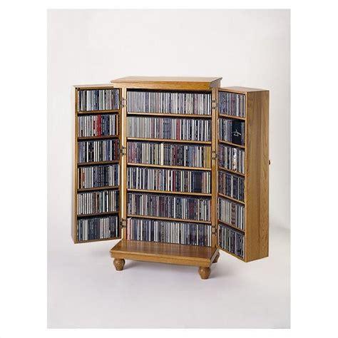 Cd Storage Cabinet Leslie Dame Cd Dvd Media Storage Cabinet W Louvered Dr Oak