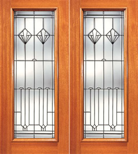 Full Lite Contemporary Art Deco Glass Exterior Double Deco Glass Doors