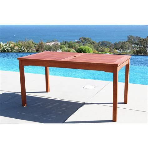 Eucalyptus Patio Table Vifah Balthazar Eucalyptus 59 In X 32 In Patio Dining Table V98 The Home Depot