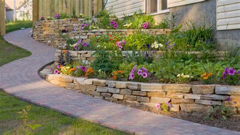 garden  backyard retaining wall ideas  terraced