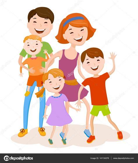 imagenes de la familia sin color familia de dibujos animados alegre en ropa colorida
