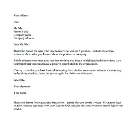 professional thank you letter 9 free documents