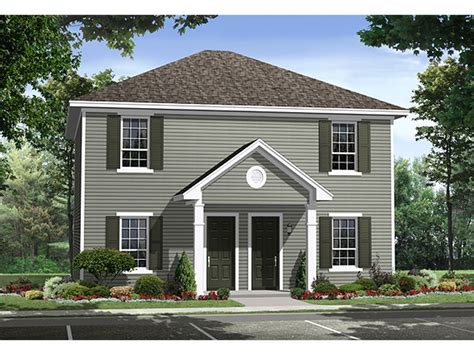 Duplex House Plans Two Story Multi Family Home Plan Two Storey Duplex House Plans
