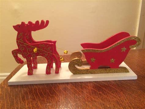 santa sleigh table decoration wooden santa sleigh tea light holder reindeer vintage