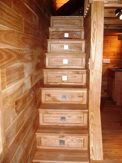 Stair Drawer by Custom Stairs To Loft With Storage Drawers Tiny Green Cabins