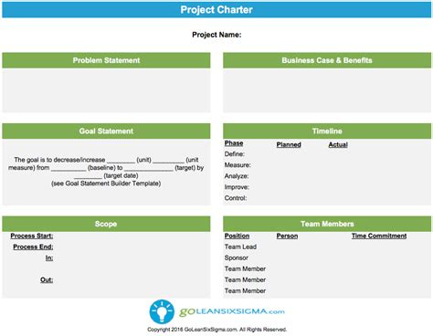 Project Charter Template Exle Lean Six Sigma A3