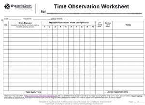 Time Observation Worksheet For Short Process Ieam Time Study Template Excel