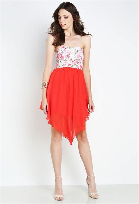 Id 1838 Flower Dress strapless floral dress shop dresses at papaya clothing